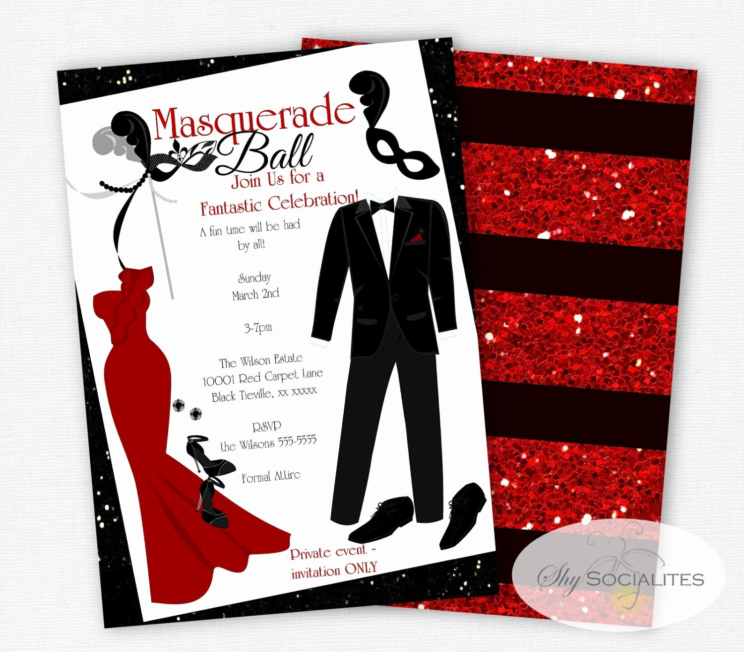 Red Carpet Invitation Template Free Elegant Masquerade Ball Invitation formal event Prom Red Carpet