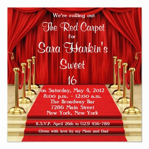 Red Carpet Invitation Template Free Lovely Red Carpet Hollywood Sweet 16 Birthday Invite