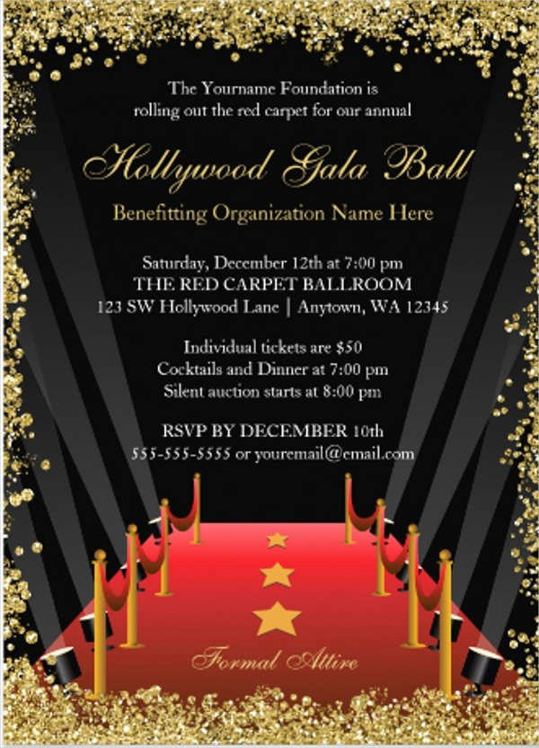 Red Carpet Invitation Template Free Unique Hollywood Red Carpet Invitations Eyerunforpob