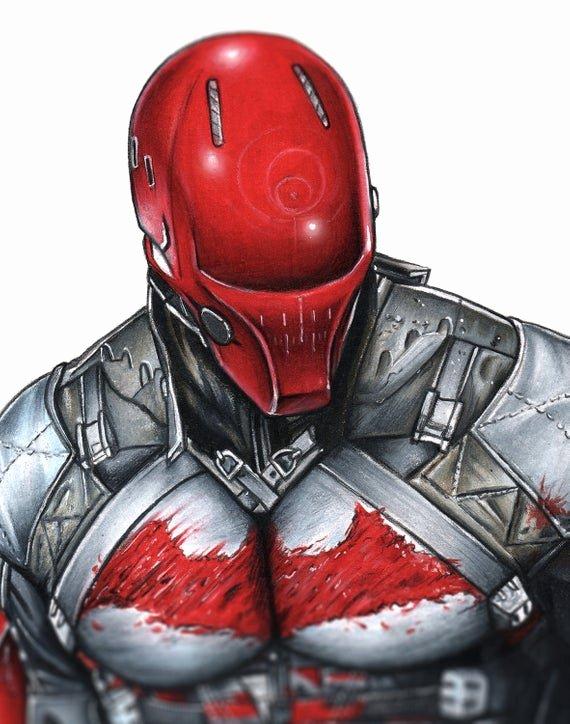 Red Hood Helmet Foam Template Beautiful Red Hood Arkham Knight Illustrated Giclee Print