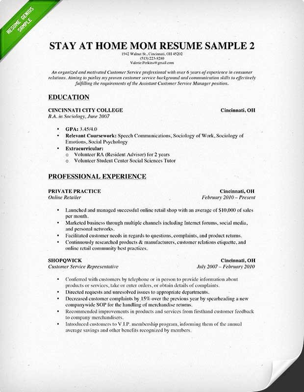 Reentering the Workforce Resume Examples Beautiful How to Write A Stay at Home Mom Resume