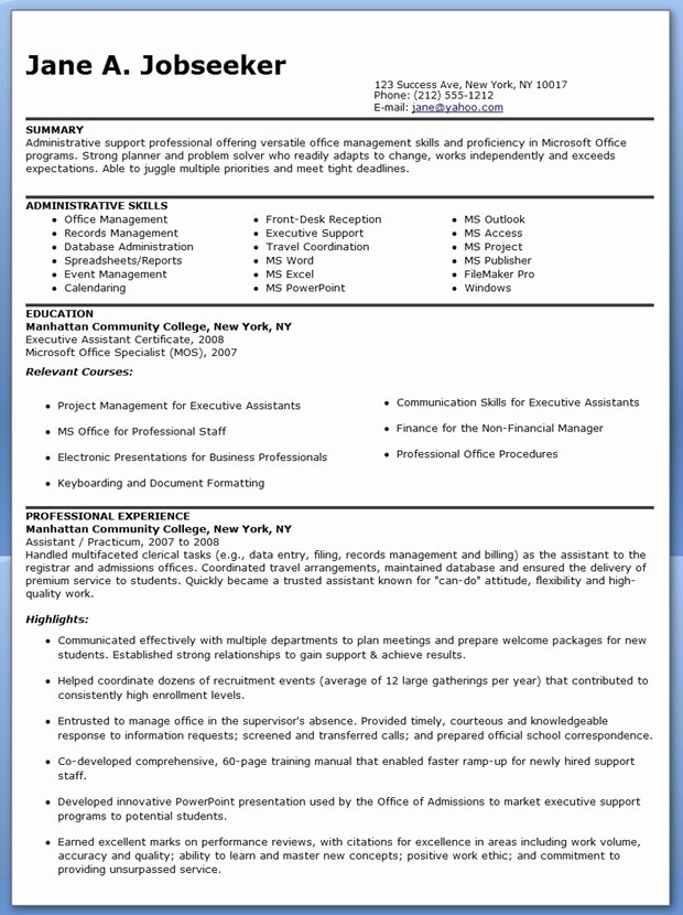 Reentering the Workforce Resume Examples Beautiful Sample Resume Administrative assistant