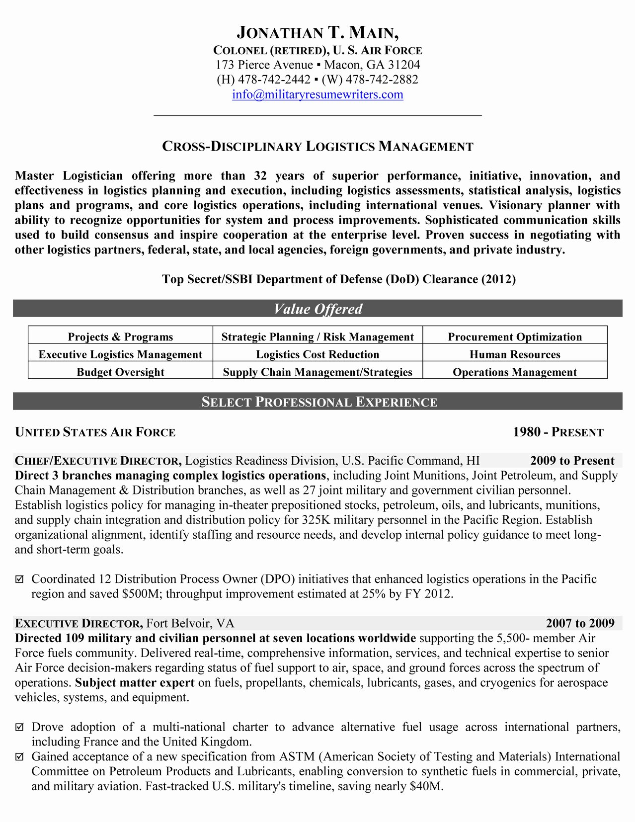 Reentering the Workforce Resume Examples Lovely Military Resume Samples & Examples