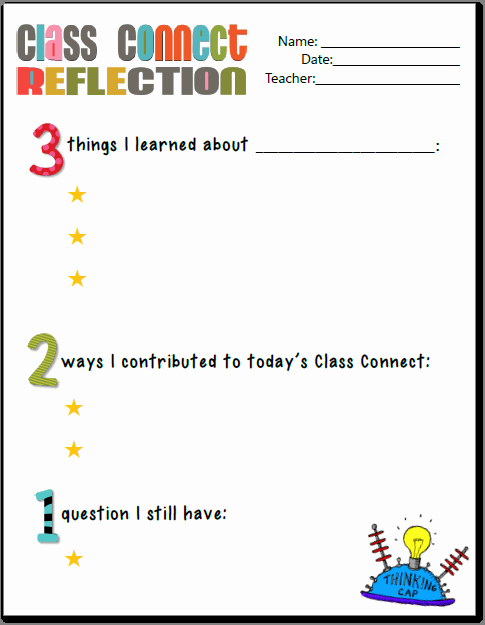 Reflection In English Class Luxury Cc Lesson Reflection and Exit Ticket Printables