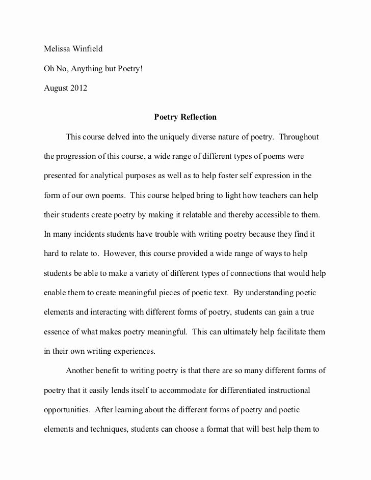Reflection In English Class Luxury Poetry Reflection Paper