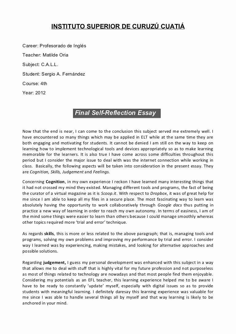 Reflective Letter for English Class Beautiful Call Final Self Reflection Essay