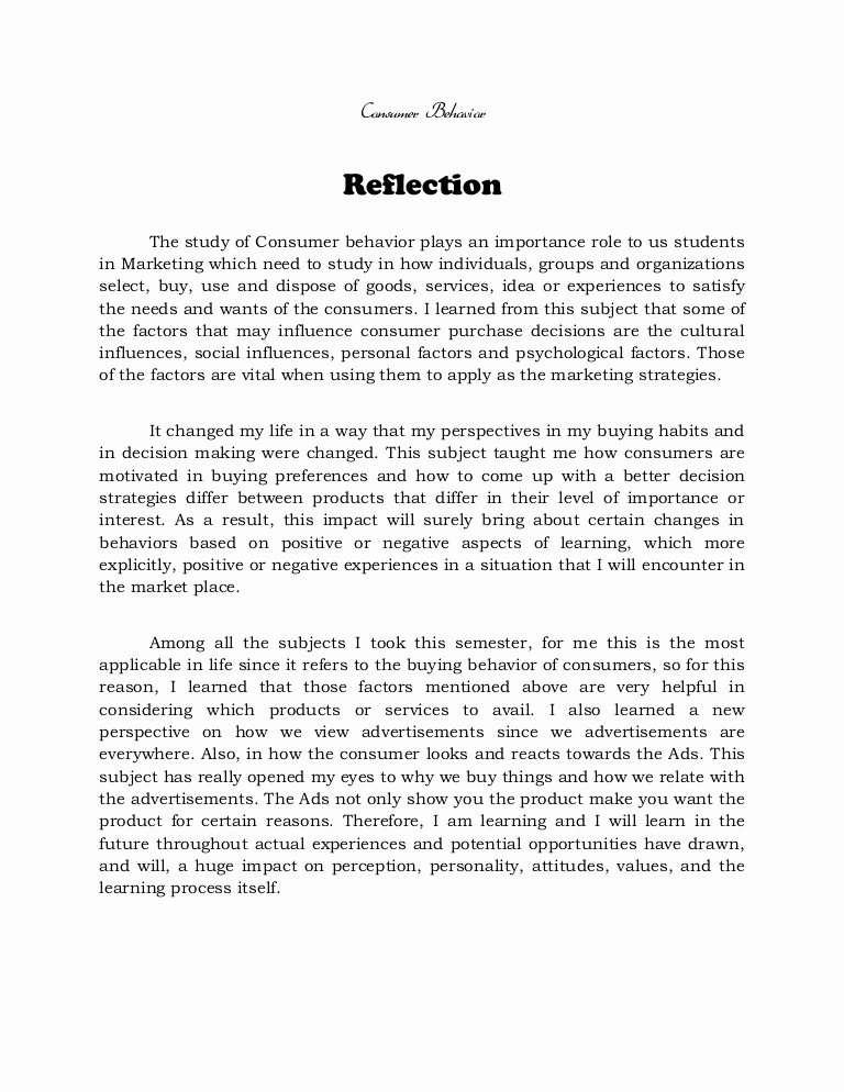 Reflective Letter for English Class Best Of Reflection On Consumer Behavior Methods Of Research and