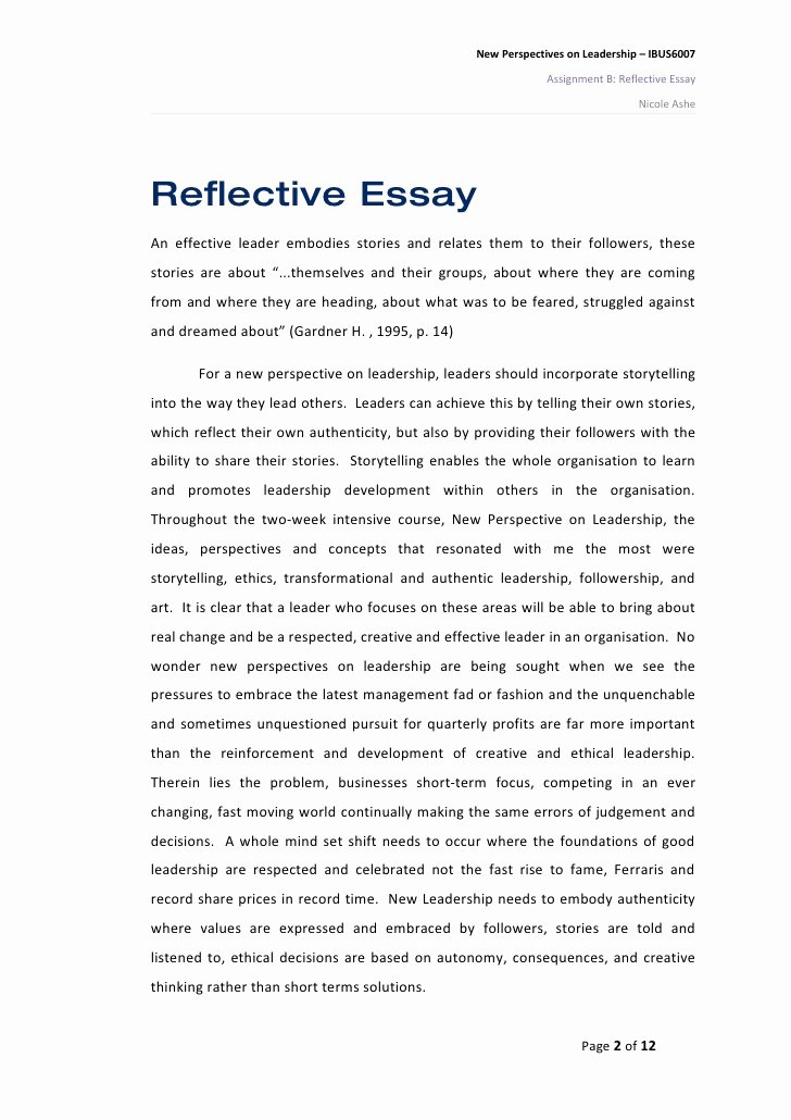 Reflective Letter for English Class Lovely Reflective Essay On New Perspectives On Leadership