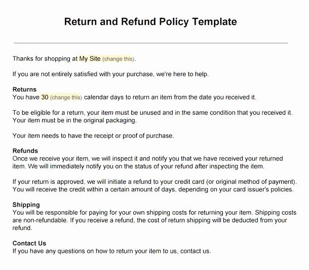 Refund Letter Templates Best Of Sample Return Policy for E Merce Stores Termsfeed