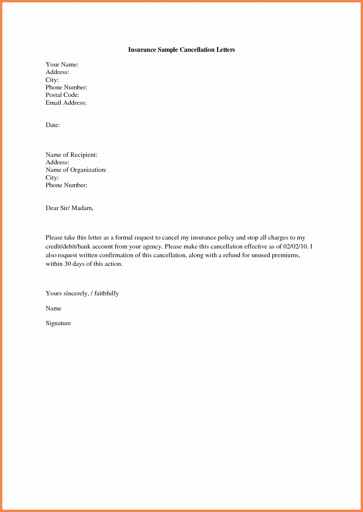 Refund Letter Templates Fresh Insurance Cancellation Letter format
