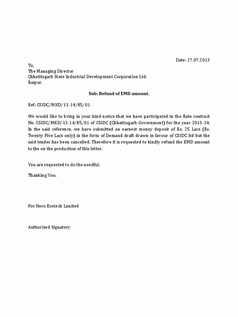 Refund Letter Templates Inspirational Letter for Refund Of Emd