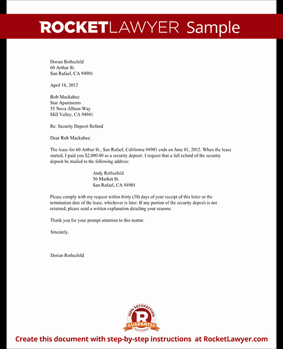 Refund Letter Templates Inspirational Tenant S Security Deposit Refund Letter Template with Sample