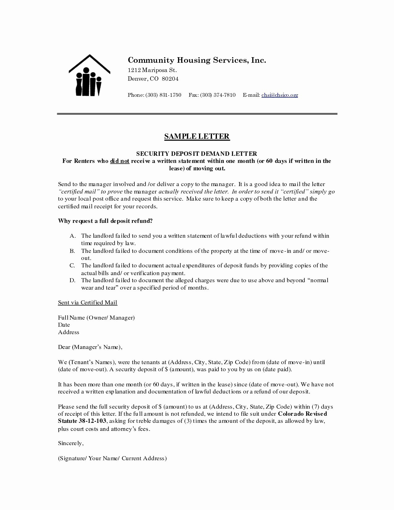 Refund Letter Templates Lovely 12 Security Deposit Return Letter Template Inspiration
