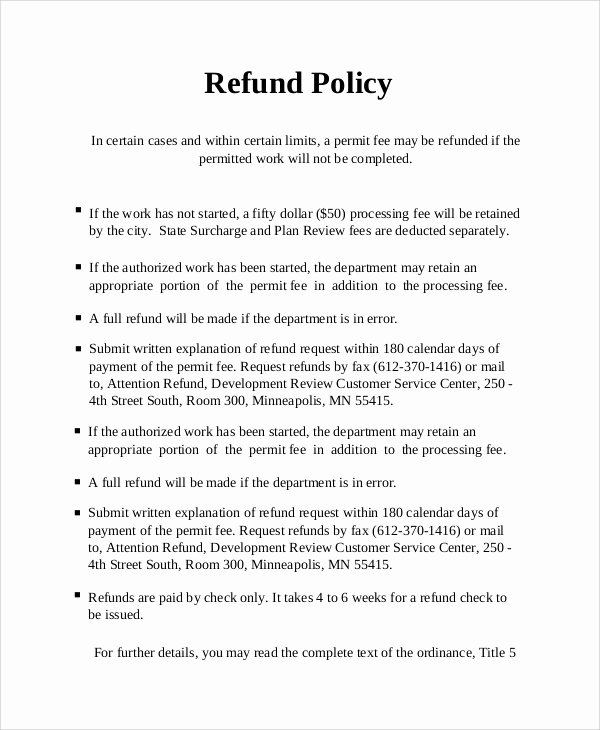Refund Letter Templates Unique Sample Refund Policy 8 Documents In Word Pdf