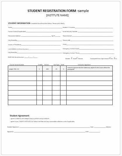 Registration form Template Word Free Best Of Student Registration forms for Ms Word