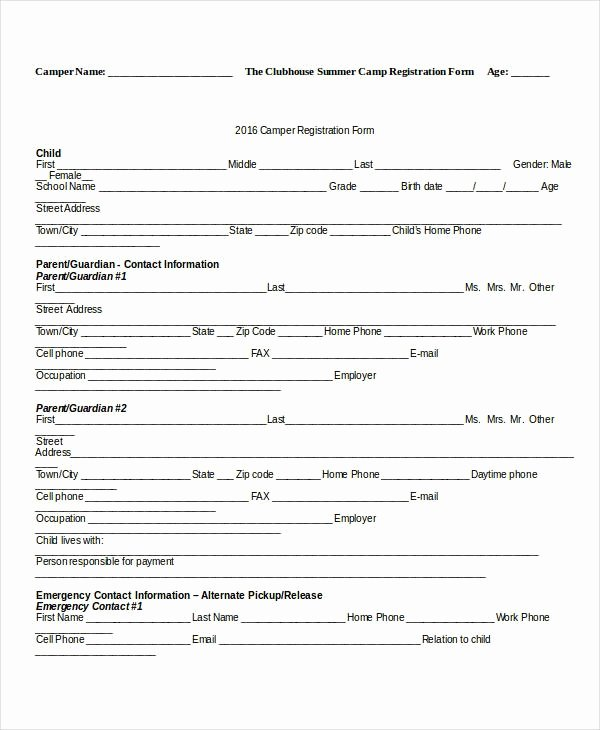 Registration form Template Word Free Fresh Camp Registration form Template Invitation Template