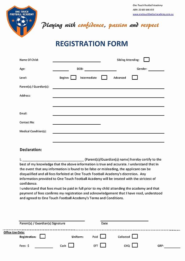 Registration form Template Word Free Luxury Academy Registration form Templates