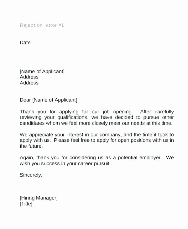 Rejection Letter for Internal Candidate Awesome Rejection Letter Template after Interview – Tracenumberr