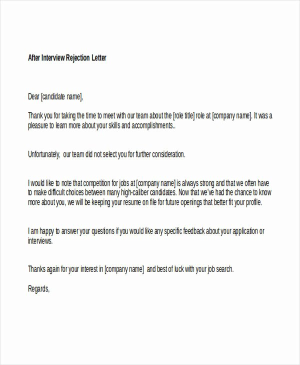 Rejection Letter for Internal Candidate Best Of Letter for Job Rejection after Interview original