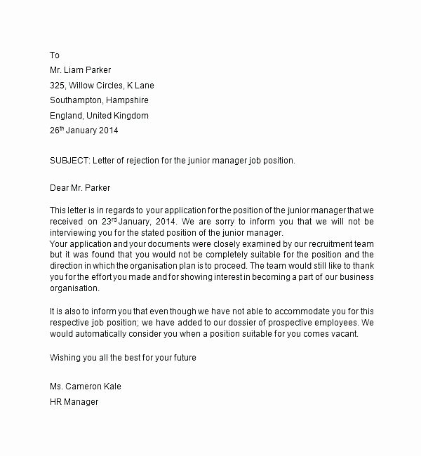Rejection Letter for Internal Candidate Fresh Rejection Letter Template after Interview – Tracenumberr