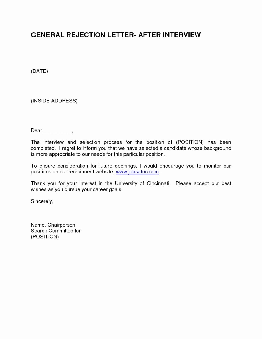 Rejection Letter for Internal Candidate Fresh Sample Candidate Rejection Letter form Template after