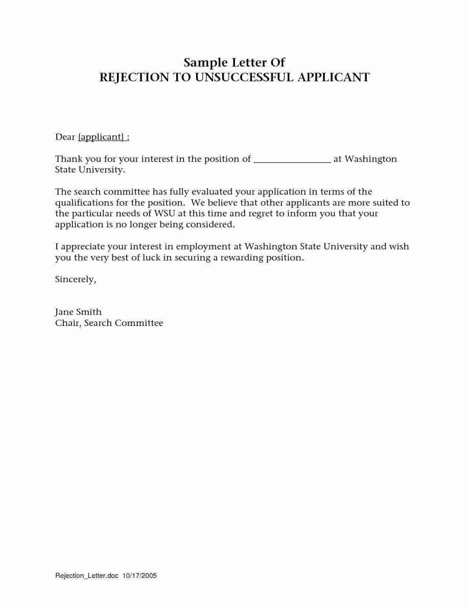 Rejection Letter for Internal Candidate Lovely Regret Letter for Job Examples Application after Interview