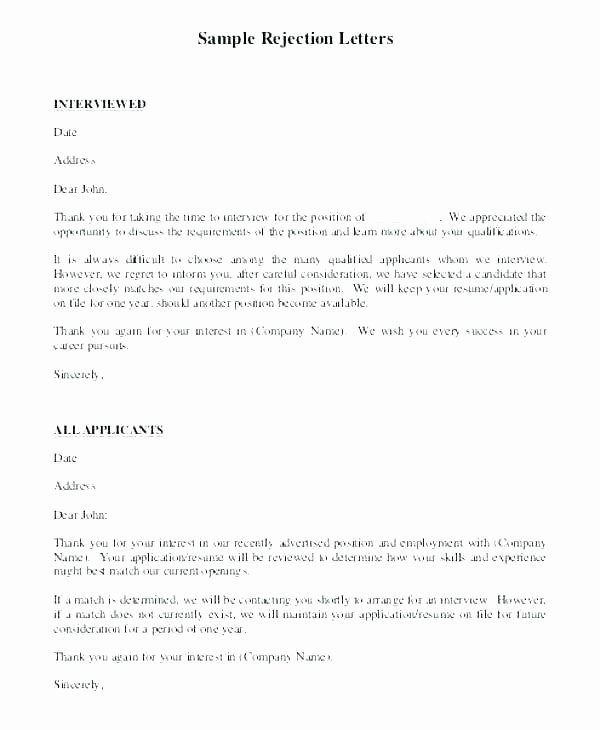 Rejection Letter for Internal Candidate Luxury Rejection Letter Template after Interview – Tracenumberr