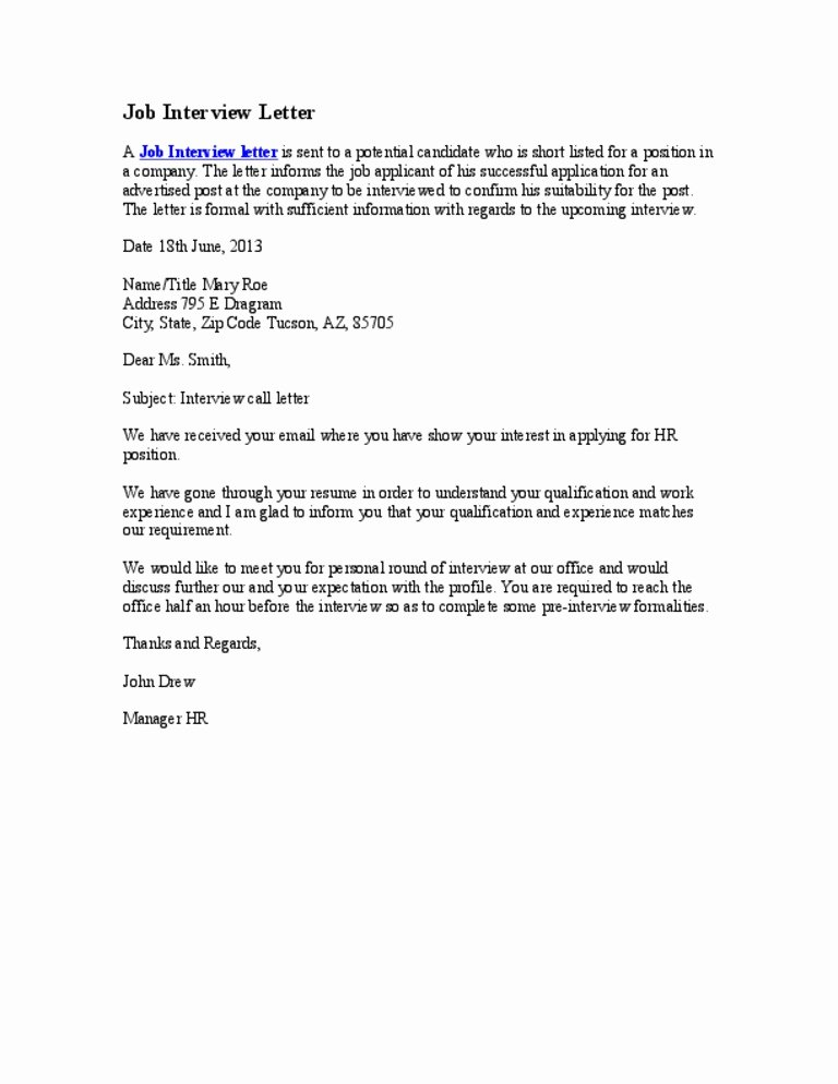 Rejection Letter for Internal Candidate New Job Interview Letter