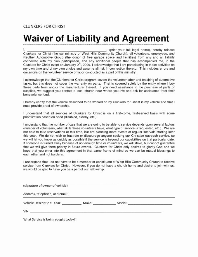 Release Of Liability Template Free Awesome Liability Waiver form