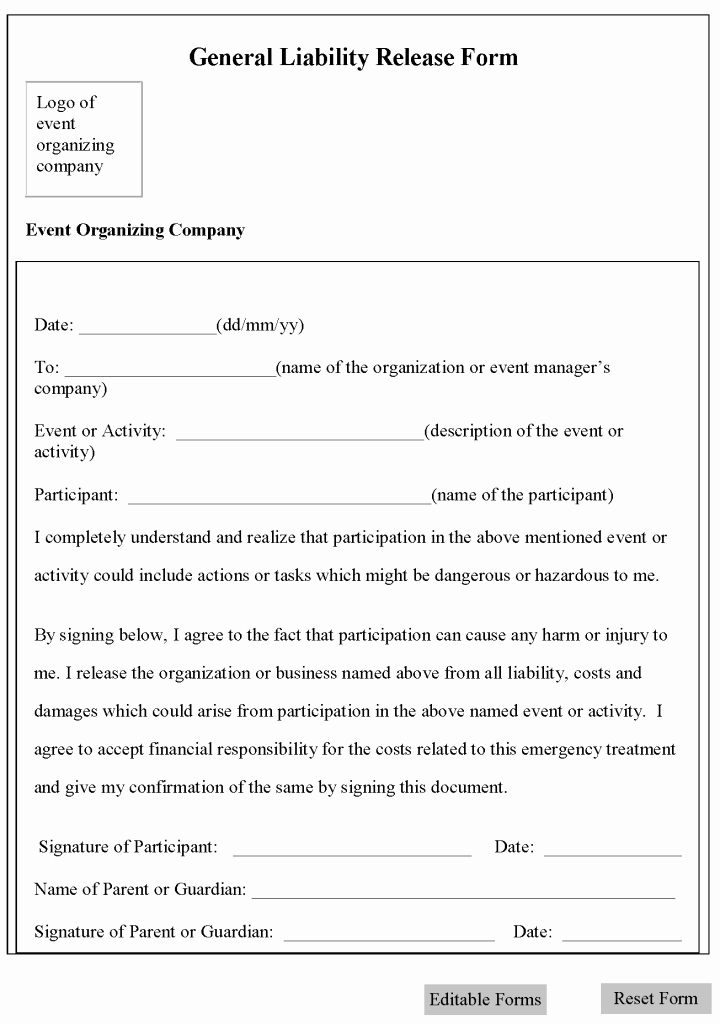Release Of Liability Template Free Beautiful Free Printable Liability Release form Sample form Generic