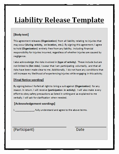 Release Of Liability Template Free Beautiful Liability Waiver Template