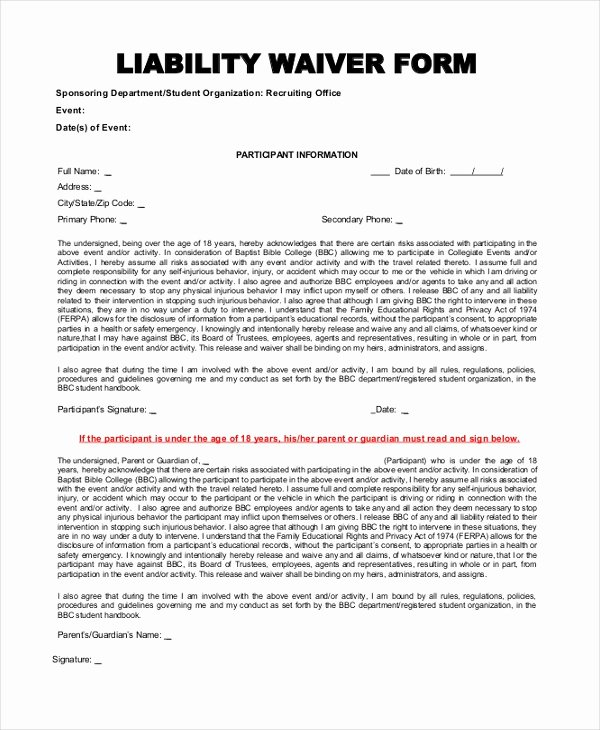 Release Of Liability Template Free Best Of Sample Liability form 8 Free Documents In Pdf
