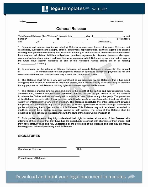 Release Of Liability Template Free Elegant Liability Release form