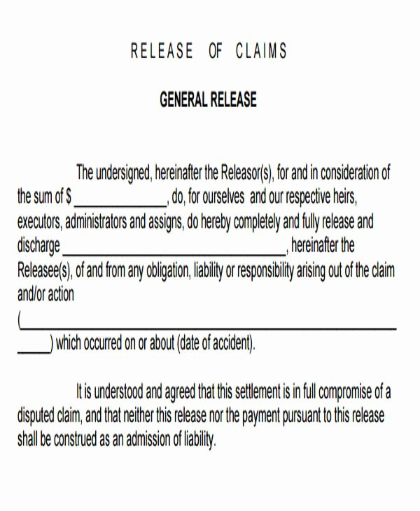 Release Of Liability Template Free Lovely Sample General Liability Release form 7 Examples In