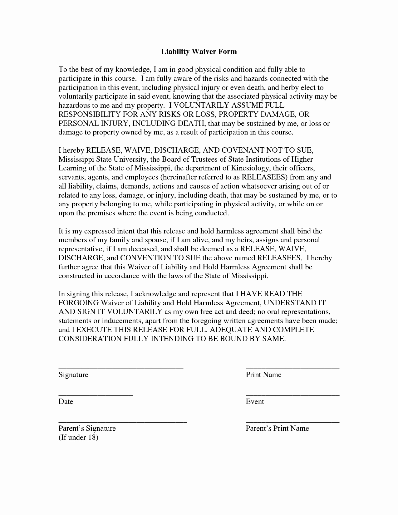 Release Of Liability Template Free Luxury Free Printable Liability form form Generic