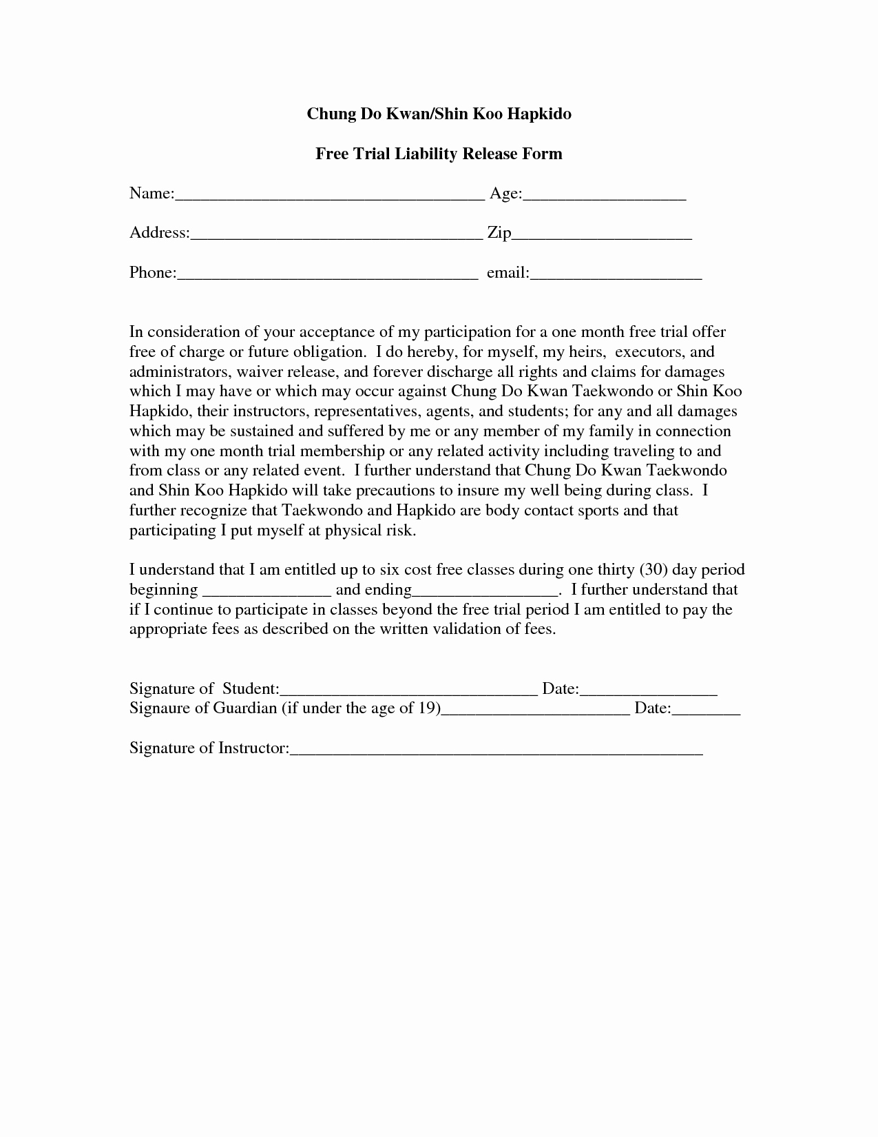 Release Of Liability Template Free New Printable Sample Liability form form