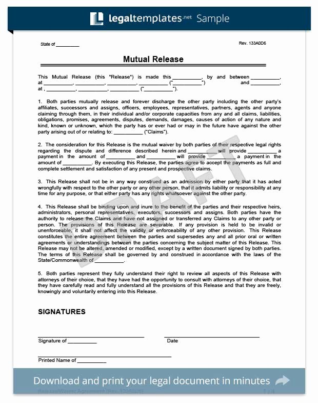 Release Of Liability Template Free Unique Free Release Of Liability form
