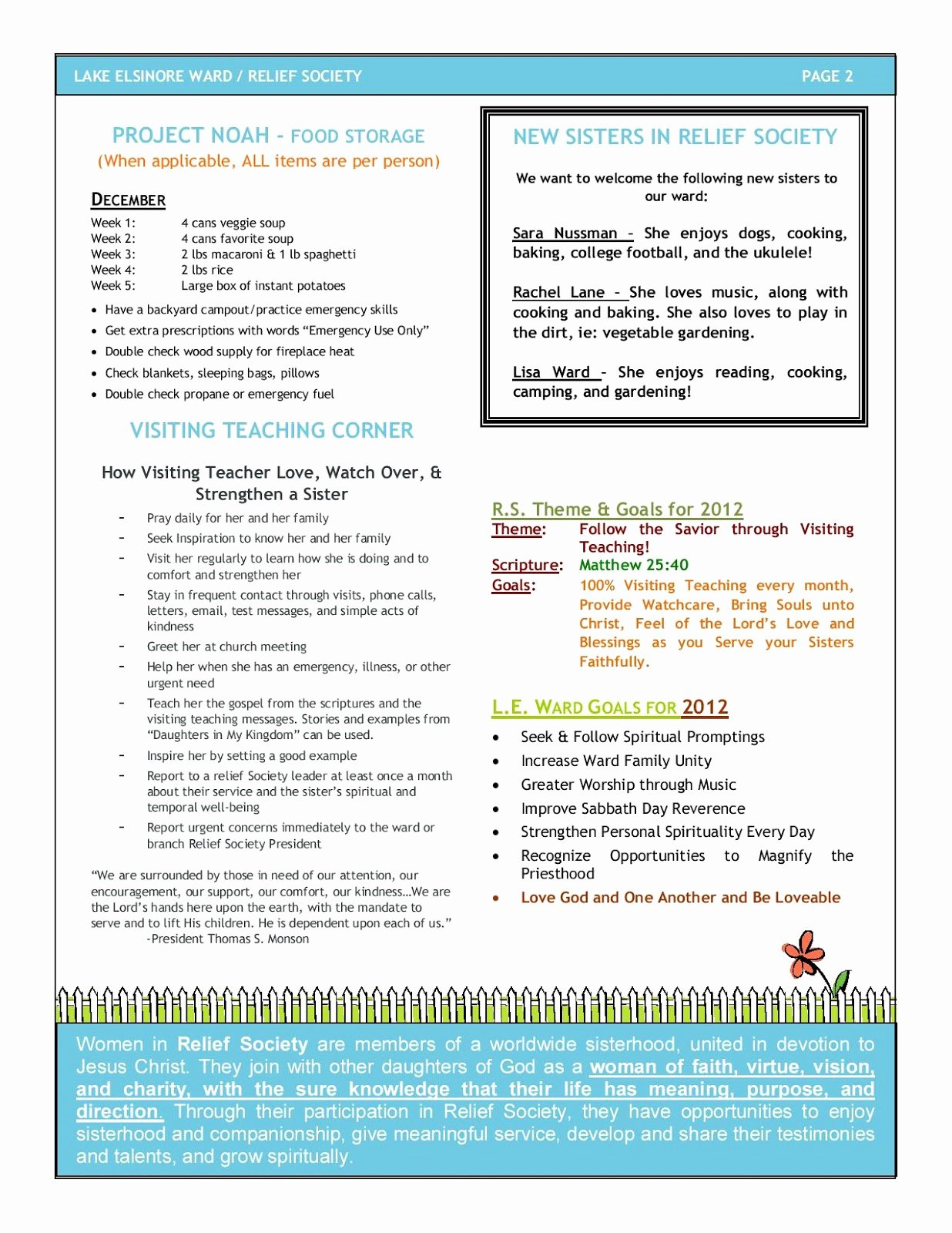 Relief society Newsletters Beautiful Lake Elsinore Relief society Newsletter and Calendar