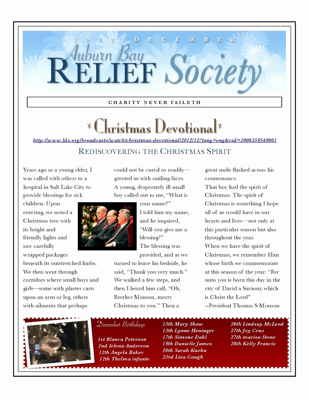Relief society Newsletters Elegant Greatest Relief society Newsletter &kd06