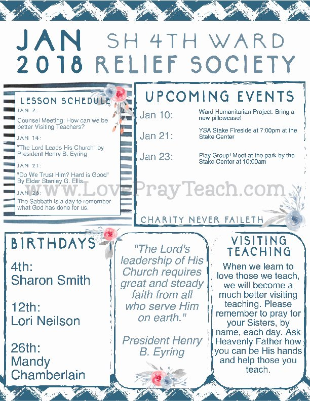 Relief society Newsletters Fresh January 2018 Relief society Newsletter and Lesson Calendar