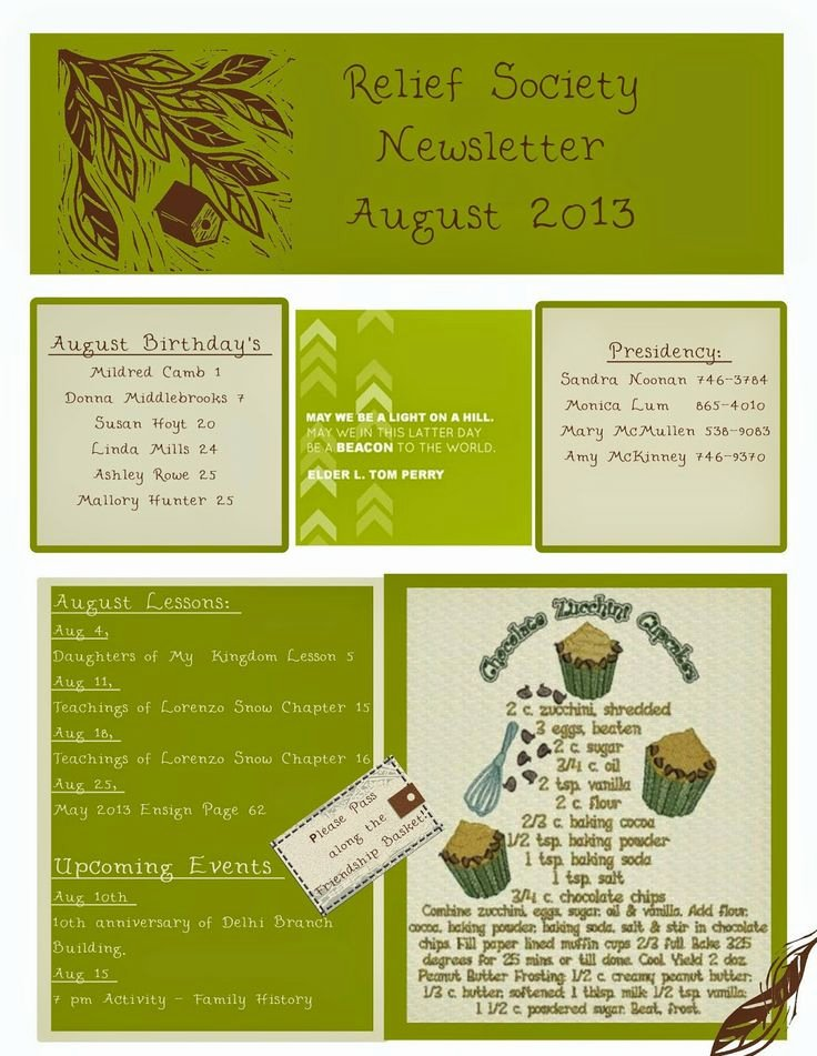 Relief society Newsletters Lovely 16 Best Images About My Creations On Pinterest