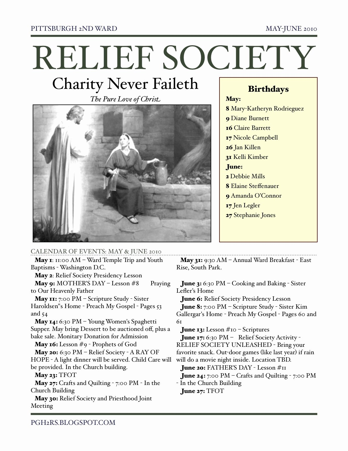 Relief society Newsletters Lovely Pgh2 Relief society