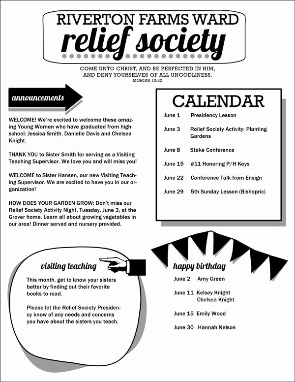 Relief society Newsletters Lovely Relief society Newsletter Template Customizable Pdf
