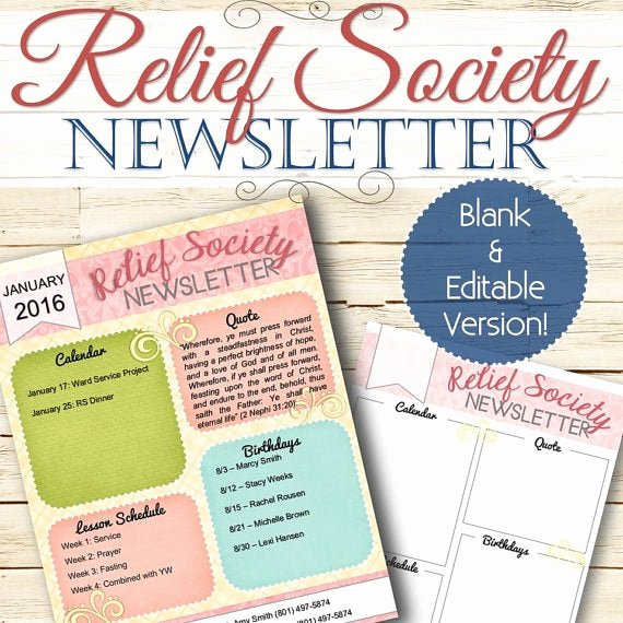Relief society Newsletters New Editable Relief society Newsletter Instant Download