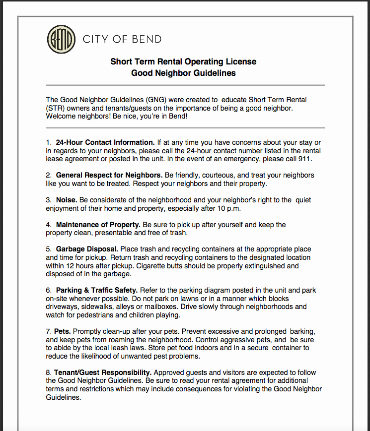 Rent House Rules Inspirational Bend S Good Neighbor Guidelines