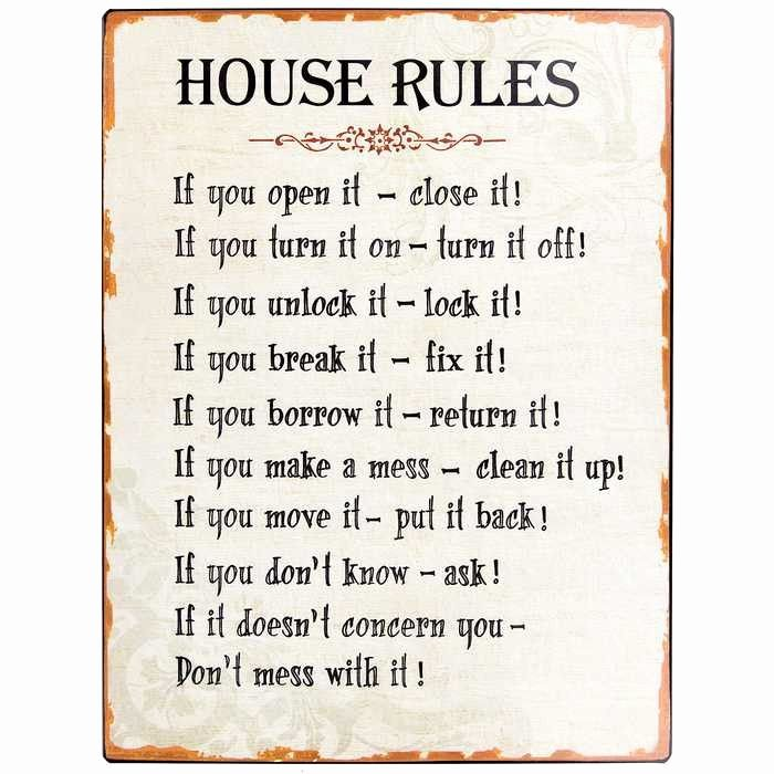Rent House Rules New Hobby Crafts & Decor House Rules Tin Sign