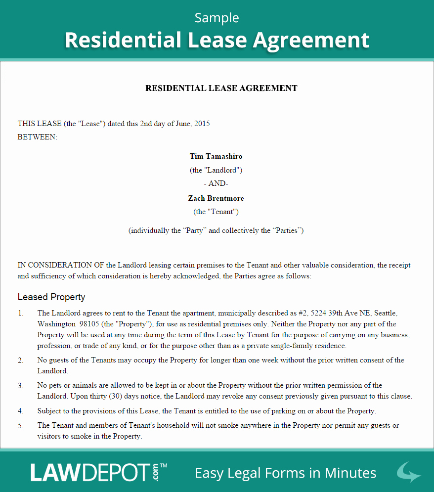 Rent Lease Template Beautiful Residential Lease Agreement