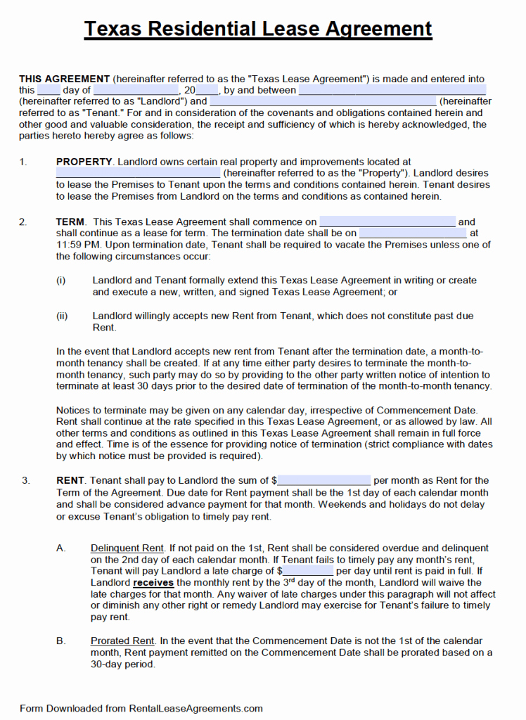 Rent Lease Template Best Of Free Texas Standard Residential Lease Agreement Template