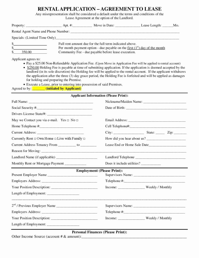 Rent Lease Template Elegant 25 Lease Application Templates Free Free Word Pdf