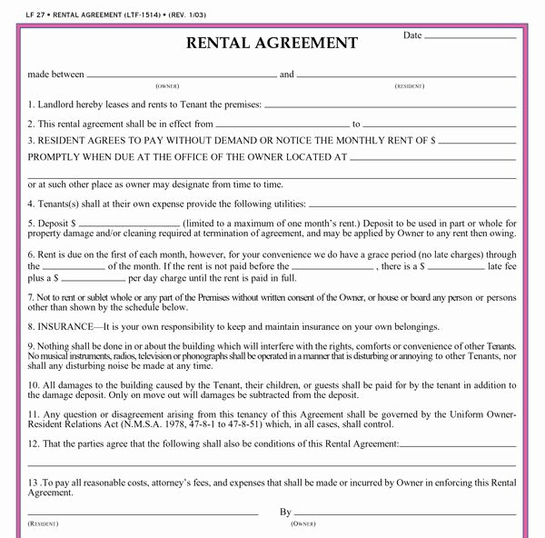 Rent Lease Template Fresh Residential Lease Agreement Template